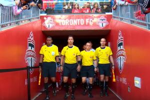 Michael Barwegen, far right, at the Canadian Championship game
