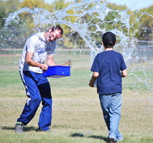 Students and staff got wet during team activities at Champion School in connection with the Leader in Me program.
