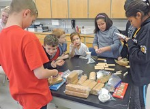 Milo Community School students work on their project during the STEM Challenge.