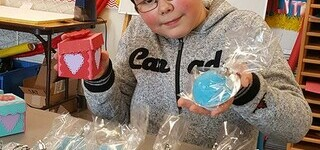 Joshua Vercekaites shows off his bath bombs prior to the VPES Grade 5-6 Leadership Market.