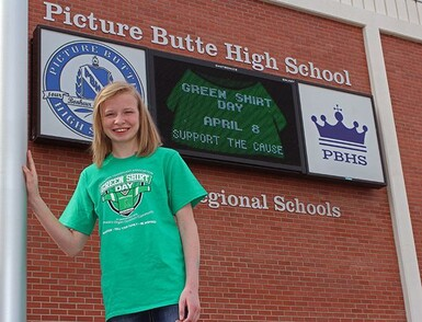 Picture Butte High School student Meeya  Arneson will be having a kitchen table talk about organ donations.