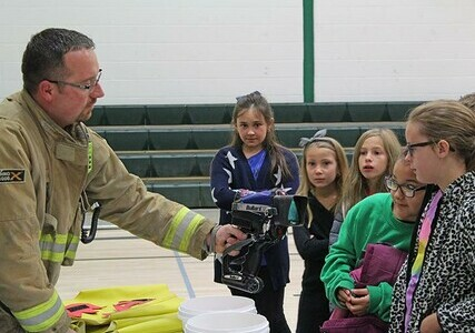 Nobleford & District Emergency Services showed Noble Central School students some of the equipment they use in fighting fires and saving lives.