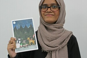 Faoja Chowdhury with card submission