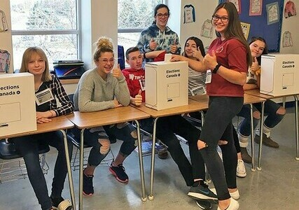 Grade 9 students at Picture Butte High School put on Student Vote Day.