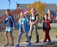 Jennie Emery Elementary School students file out for the Terry Fox Walk.