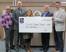 From left to right,Palliser Associate Superintendent, Pat Rivard, VP Alberta South RBC,Terry Belisle, Senior Commercial Manager RBC, Jackie Lovell, Palliser Superintendent, Dave Driscoll, and Palliser Director of Learning, Jason Kupery.