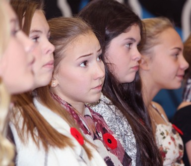County Central High School students listen intently at the Remembrance Day ceremony.