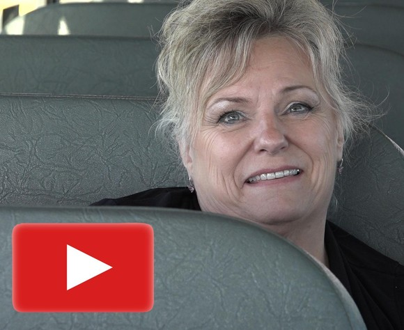 Palliser bus driver Rhonda Ross. Click the photo to see a three-minute video..